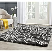 Safavieh Belize Shag Collection SGB488C Charcoal and Ivory Area Rug (51 x 76)