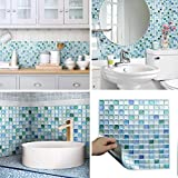 Beaustile Decorative Tile Stickers Peel Stick Backsplash Fire Retardant Tile Sheet (Sapphire Blue) (10, Sapphire Blue)