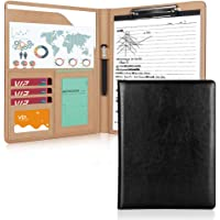 Geila Business PU Leather Resume Storage Clipboard Folder Portfolio Padfolio, Interview/Legal Document Organizer & Business Card Holder for Office Conference