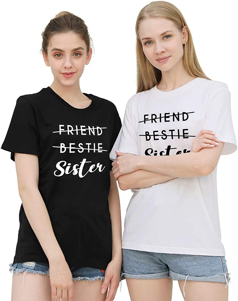 Mejores Amigas Camiseta para 2 BFF Camisetas Best Friends para 2 Mujer Sister T-Shirts Impresión BFF T-Shirt Hermana Camisa Verano Manga Corta Mujer 100% Algodón Negro Blanco 2 Piezas: Amazon.es: Ropa y
