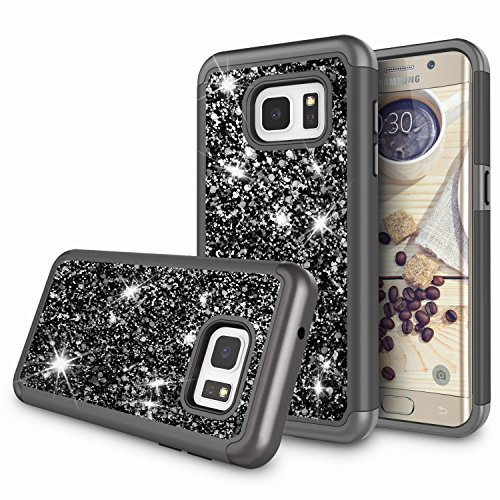 Galaxy S7 Edge Case for Girls, S7 Edge Case, Zectoo Luxury Glitter Sparkle Bling Dual Layer Shock Absorbing Hybrid Defender Shinning Protective Hard Cover for Samsung Galaxy S7 Edge G935 - Black