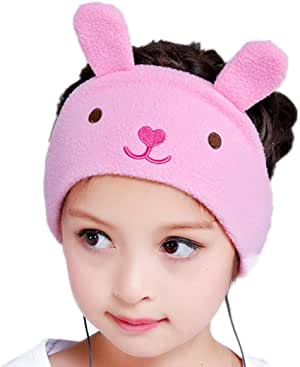FIRIK Kids Headphones Volume Limited with Easy Adjustable Toddler Costume Silky Headband Headphones for Children, Perfect for Air Travel, Home and Christmas Birthday Gift - Bunny