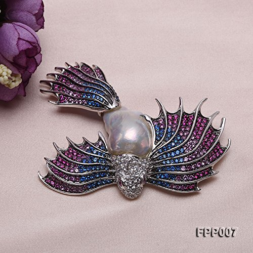 JYX Fine Bird-style White Baroque Pearl Pendant Brooch by JYX Pearl (Image #2)