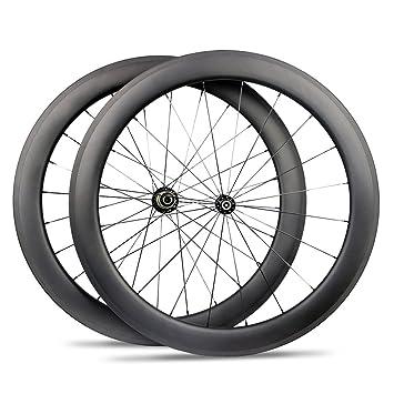 Yuanan 60 mm de Profundidad Carbono Rueda de Bicicleta Clincher Tubeless Tubeless Rueda para Bicicleta de