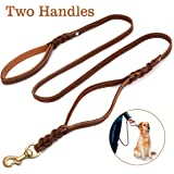 FOCUSPET Heavy Duty Leather Dog Leash with 2 Handles,Padded Traffic Handle for Extra Control,6Ft Dog Training Walking…
