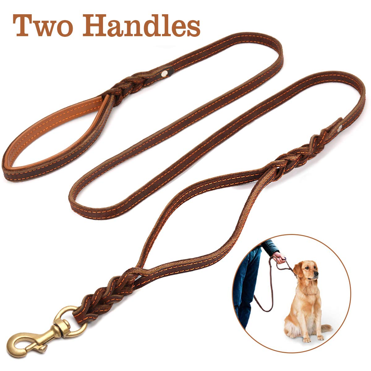 6FT FOCUSPET Heavy Duty Leather Dog Leash with 2 Handles,Padded Traffic Handle for Extra Control,6Ft Dog Training Walking Leashes for Medium Large Dogs