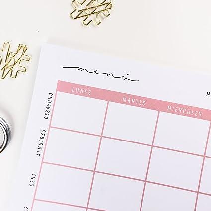 Menú semanal saludable - Planificador/Organizador de comidas en papel