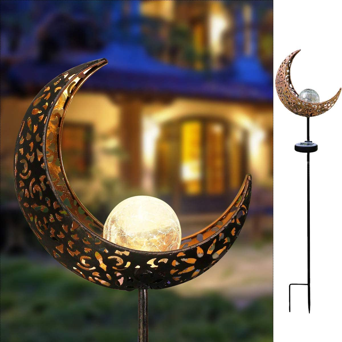 HDNICE Garden Solar Light Outdoor Decorative, Moon Crackle Glass Globe Stake Metal Lights,Waterproof Warm White LED for Pathway, Lawn, Patio, Yard