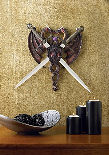 Price comparison product image DUAL DRAGONS WITH SWORDS COLLECTIBLE MYTHICAL FANTASY DECORATION WALL PLAQUE