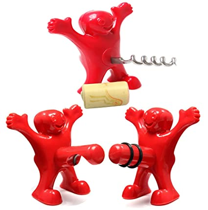 Amazon.com  Wine Bottle Opener and Stopper Set - Funny Man Novelty ... 36a7180de