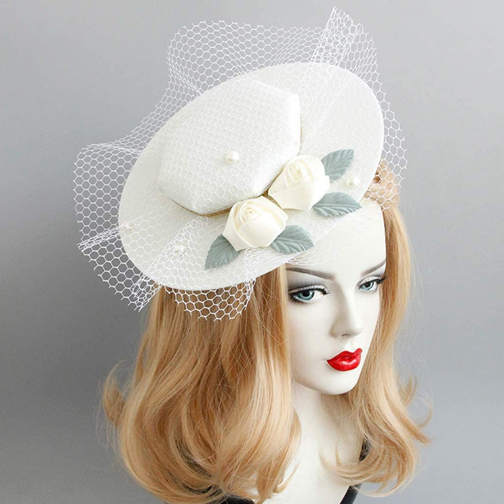 RingBuu Fascinators Hat for Women European Style Fascinator Pillbox Hat Gird Mesh Mini Bowknot Glitter Gold Ribbon Banquet Wedding Veil Hair Clip Photo Prop