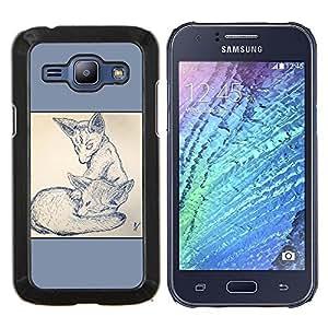 Caucho caso de Shell duro de la cubierta de accesorios de protección BY RAYDREAMMM - Samsung Galaxy J1 J100 - 2 Zorros