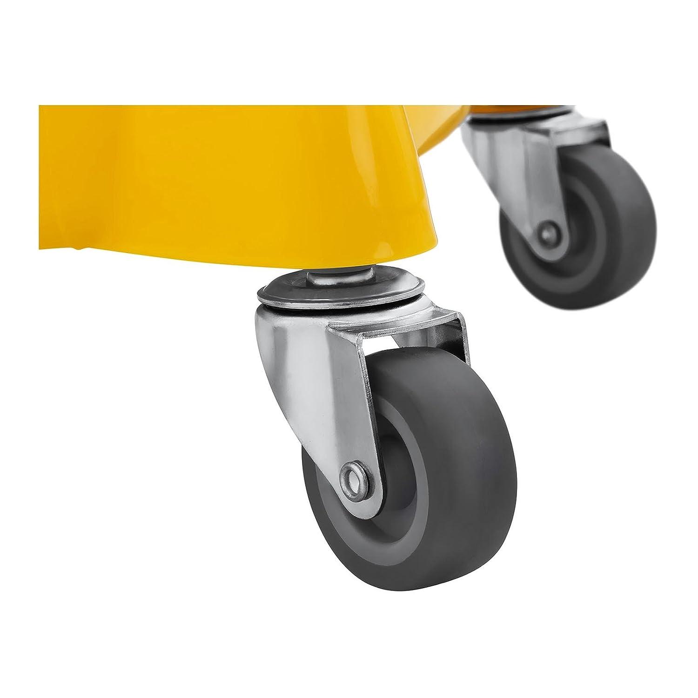 Singercon Putzwagen Reinigungswagen mit Presse - 20 L CON.CT-20W (Kunststoff, Gummiräder (TPR), Gelb, Warnhinweis) Gummiräder (TPR)