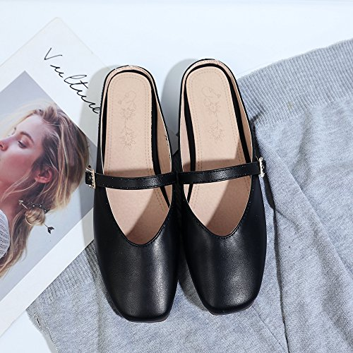 White Loafers Toe 10 Red Size Slippers 5 For 5 Slip Mules Backless Shoes On Black Women 5 Square Eithy Y7nvCWTY