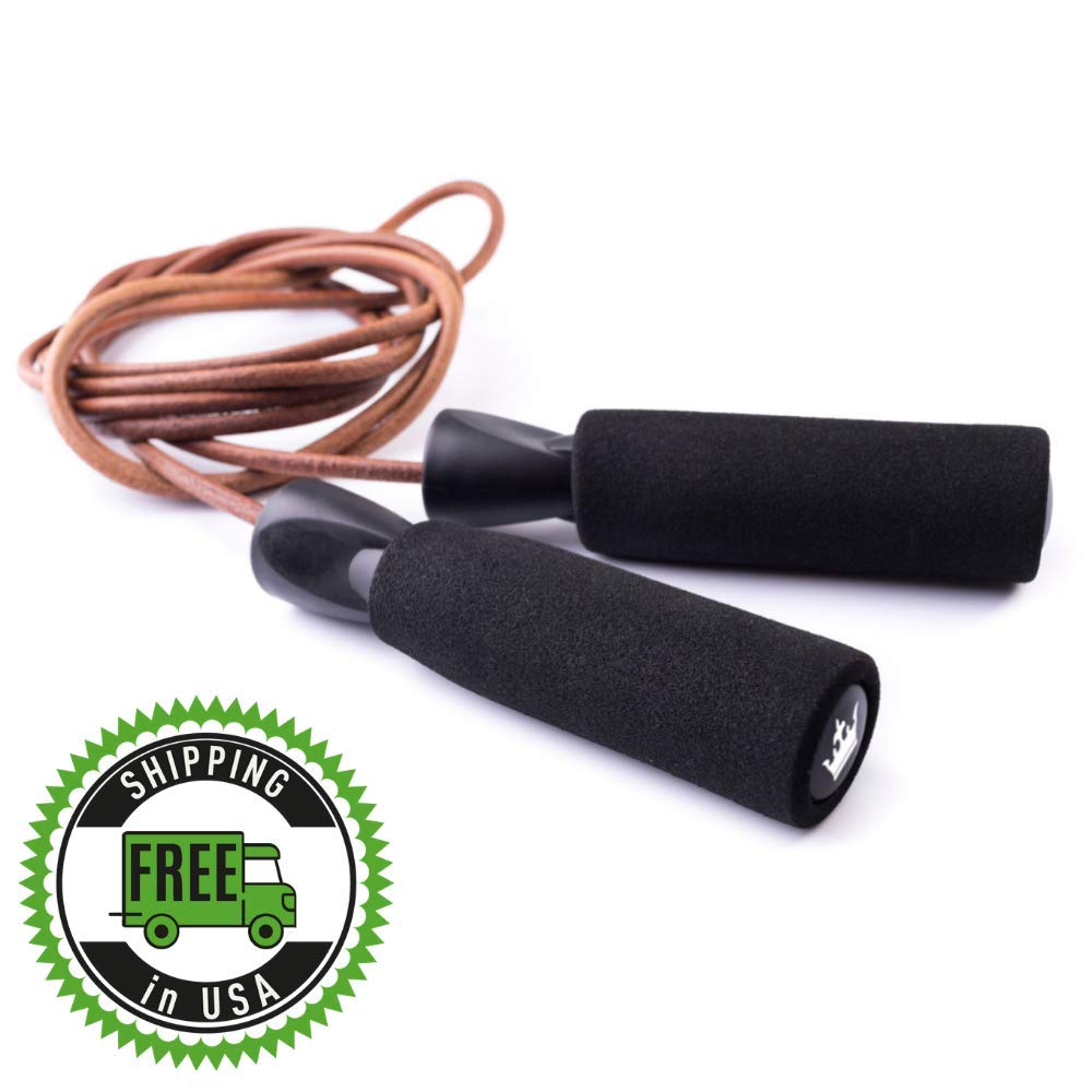 King Athletic Jump Rope Leather Jumping Rope for Cardio Fitness Exercise Skipping Ropes for Workout and Speed Skip Training