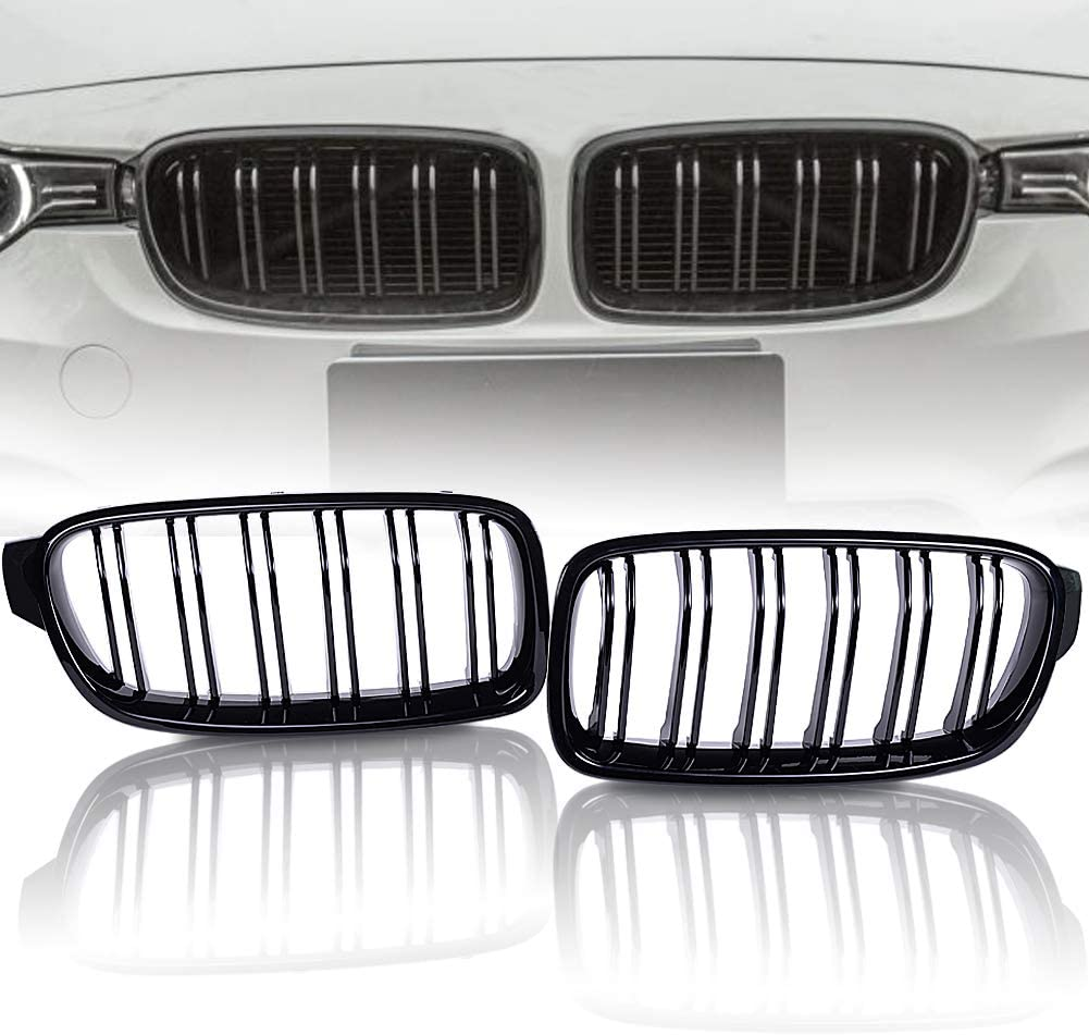 runmade M Color Double Line Dual Slat Front Bumper Kidney Hood Kidney Grille Grill For 2011 2012 2013 2014 2015 2016 2017 2018 BMW F30 3 Series 320i 328i 330i 320Li 330Li 335i 340i