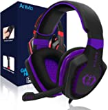 Wired Over Ear Stereo Gaming Headset Headband Headphones with Mic 50mm HiFi Speakers Noise Reduction for PC/ MAC/ PS4…