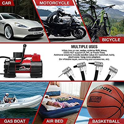 Portable Air Compressor Tire Inflator - 12V DC Heavy Duty Digital Pump with 9 LED Light for Car/Motorcycle/Air Matress, 3.7M Extended Cord Upgraded Quick Connector,Fast Inflation,Multitool Incl: Automotive