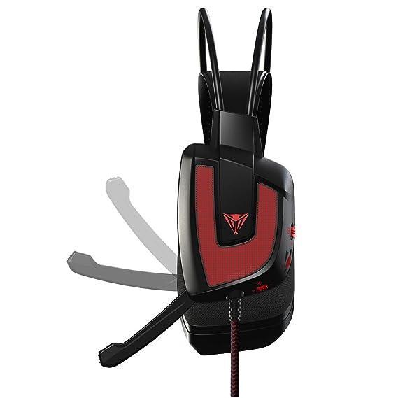 Patriot Memory Viper V360 Binaural Diadema Negro, Rojo - Auriculares con micrófono (PC/Juegos, 7.1 Canales, Binaural, Diadema, Negro, Rojo, ...