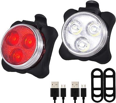 Pasas - Juego de Luces para Bicicleta (Recargables, USB, 4 Modos de luz): Amazon.es: Deportes y aire libre