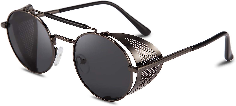 Feisedy - Gafas de sol estilo steampunk UV400, estilo retro, redondas, de metal, marco Matel B2518