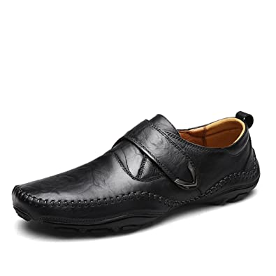 Mens Leather Loafers Casual Driving Shoes (39 M EU/7 D(M) US 3 Black)