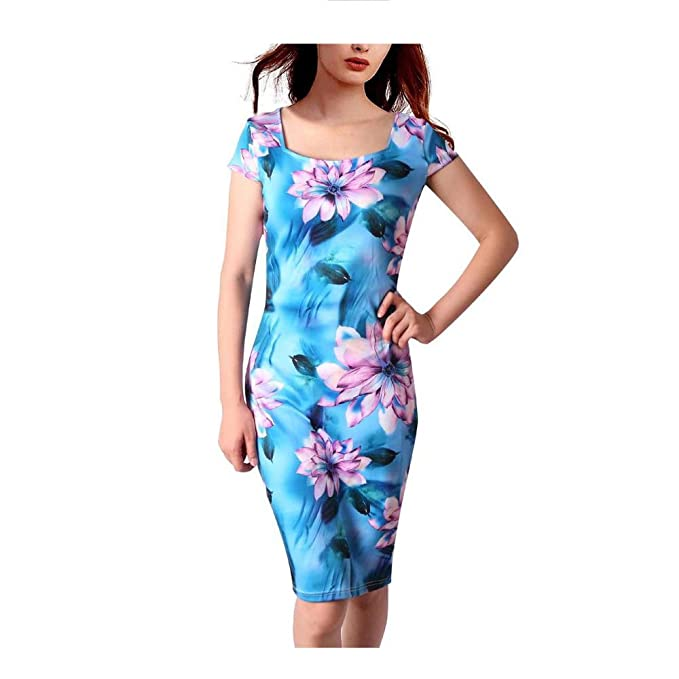 NanGate Women Dress Floral Print Vestidos Work Business Casual Straight Summer Dresses 23Colour S