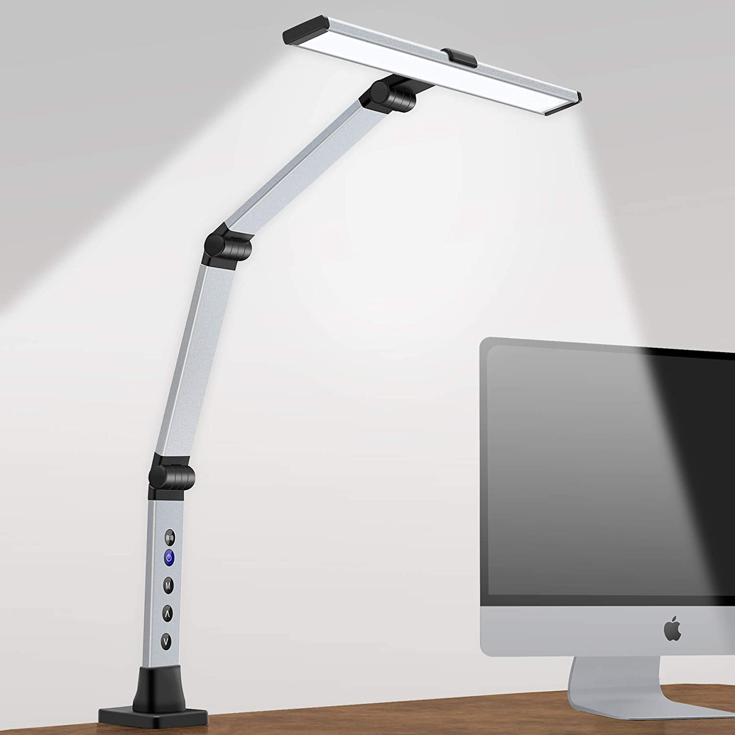Desk Lamp with Clamp,Eye-Caring Swing Arm Desk Lamp,Stepless Dimming & Adjustable Color Temperature Modern Architect Task Lamps with Setting Memory for Home Office,Reading,Studying 12W-Silvery