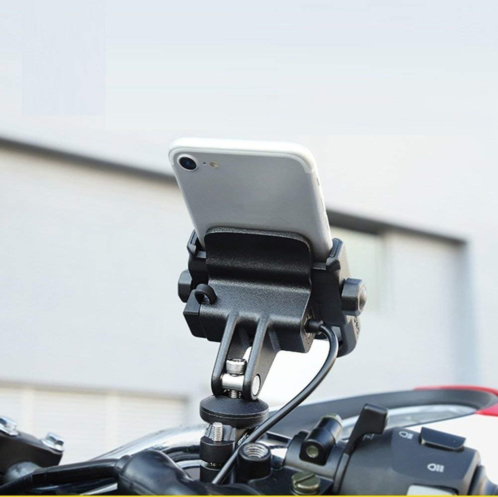 NikoMaku Bike Motorcycle Phone Holder Phone Mount Metal Aluminum Handlebar Holder 360° Adjustable Compatible with 4-6.8 inches Mobile Phone, iPhone Samsung BlackBerry etc. (Black) 4336677219