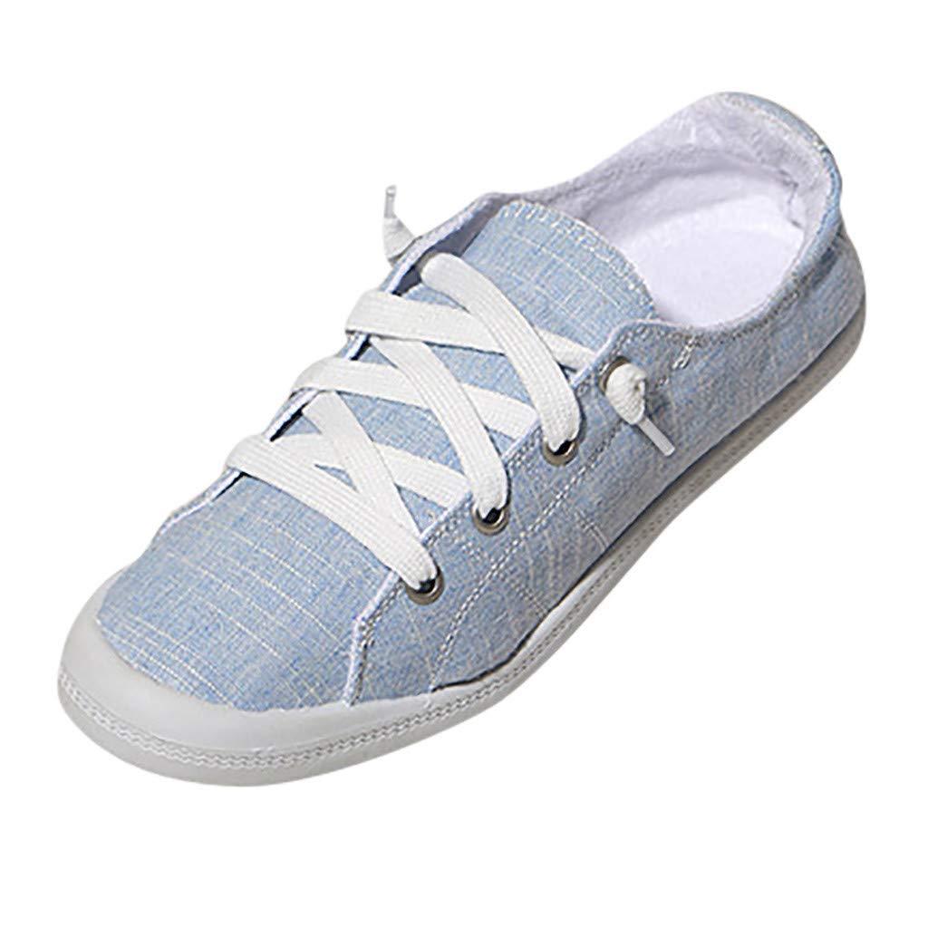 Meigeanfang Women's Comfortable Slip On Sneaker Shoe Flats Breathable Canvas Shoes Sneakers(Blue,38)