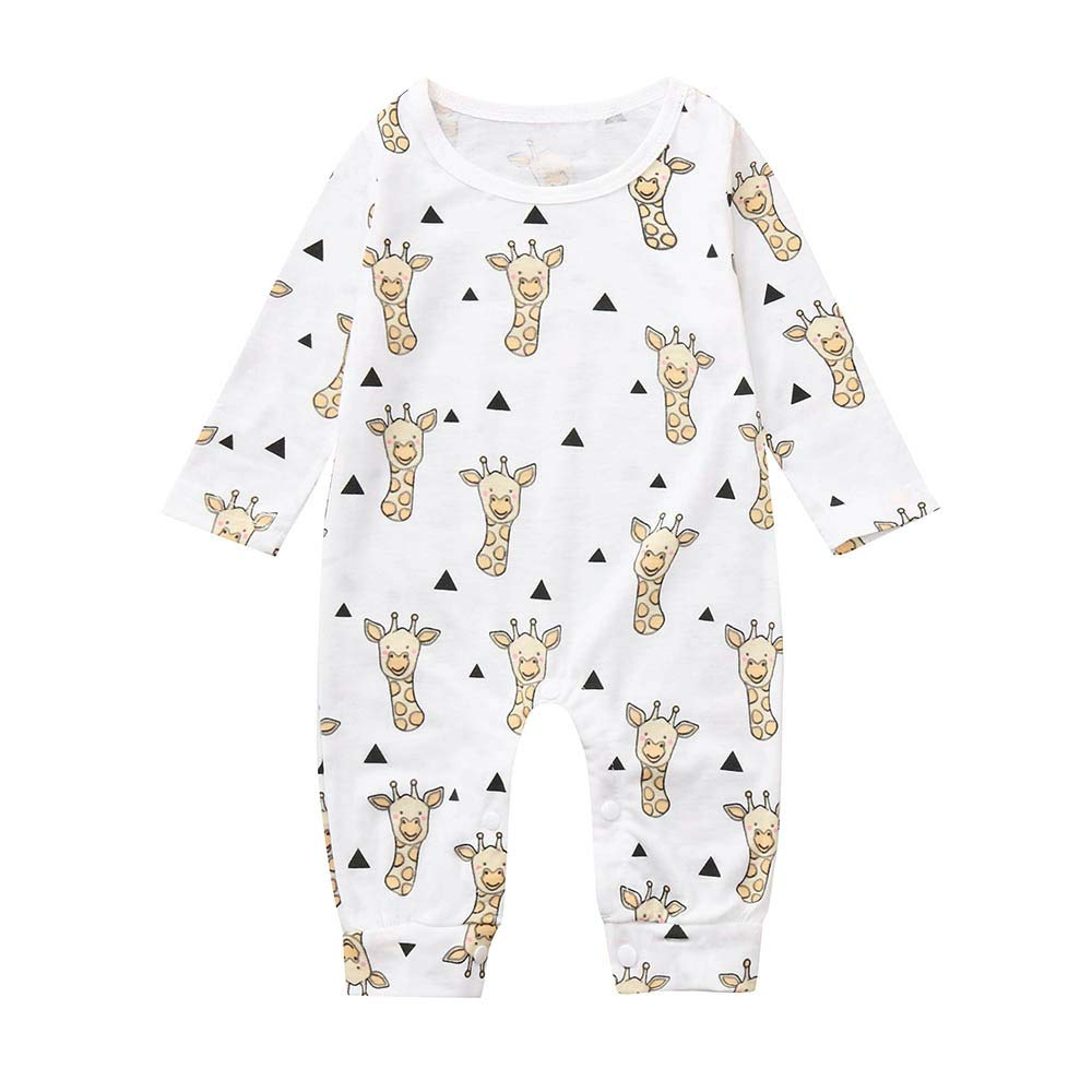 c1e6a8a9107 Amazon.com   Newborn Infant Baby Boys Girls Romper Long Sleeve Cartoon  Jumpsuit Outfits (0-3 Months