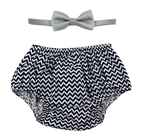 Gentlemen Ties Cake Smash Outfit Boy First Birthday Includes Bloomers and Bow Tie (Navy Blue Chevron Bloomer and Gray Bow) (Comfy Bow)