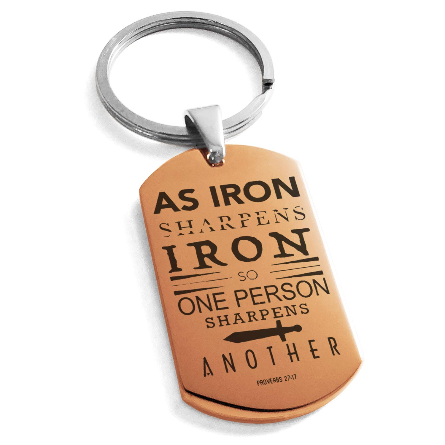 Tioneer Rose Gold Stainless Steel As Iron Sharpens Iron Proverbs 27:17 Engraved Dog Tag Keychain Keyring