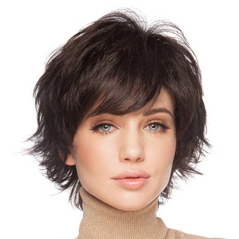 BLONDE UNICORN 100% Hand Tied Natural Short Wigs for Women Human Hair Chestnut Brown