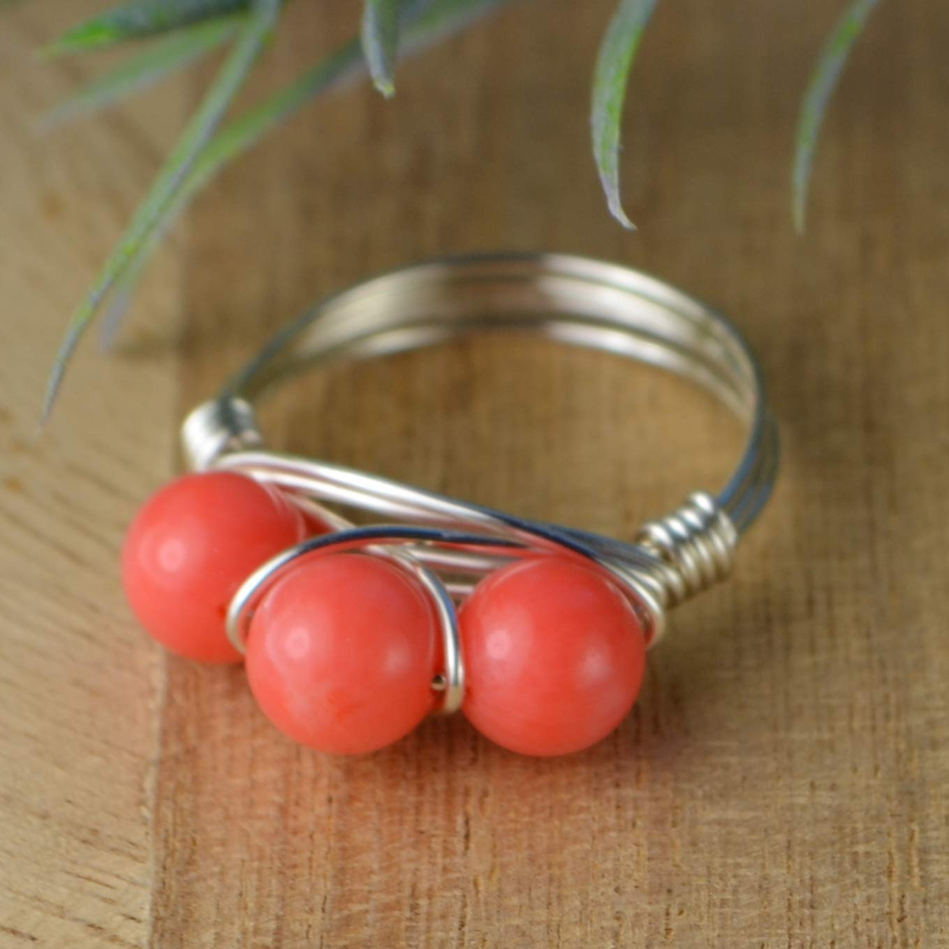 Three Pink Coral Gemstones Ring- Sterling Silver, Rose,or Yellow Gold Filled Wire Wrapped Ring- Custom Made to Your Size 4-14