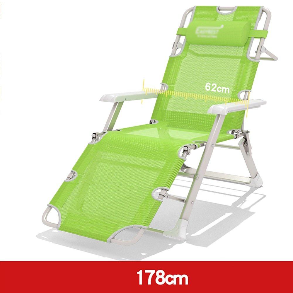 ZR- 個人 倍 ベッドラウンジチェア ベッド 安楽椅子 事務所 シエスタベッド 椅子 ソファー (色 : 178cm-green mesh yarn) B07DKGNRQ7 Parent 178cmgreen mesh yarn