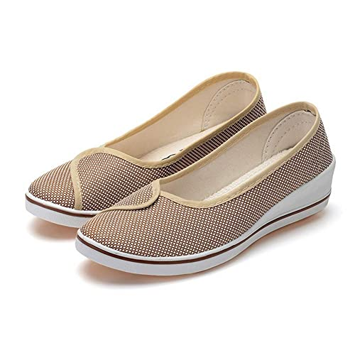 Mocasines De Mujer Plataforma Zapatos De OtoñO ResbalóN En Tela De AlgodóN SóLida Plana Casual Transpirable Madre Ocio Calzado: Amazon.es: Zapatos y ...