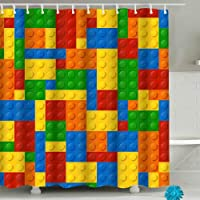 Colorful Kids Shower Curtains,Funny Lego Fabric Bathroom Shower Curtain with 12 Hooks