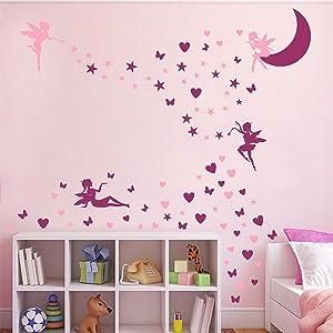 Fairy Wall Sticker Girls Fairy Wall Decals Nursery Fairies Wall Stickers Butterfly Pink Purple Star Heart Wall Decals for Girls Bedroom Kids Room Decor