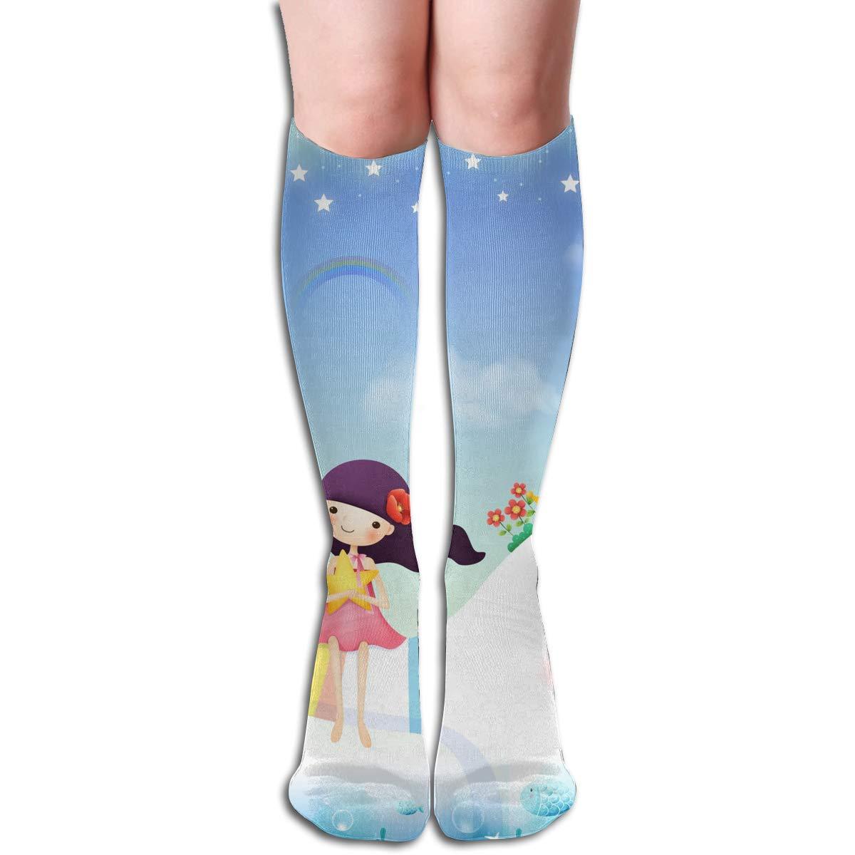 Women Socks Over Knee Girls Going To School On Elephant Winter Customized For Halloween