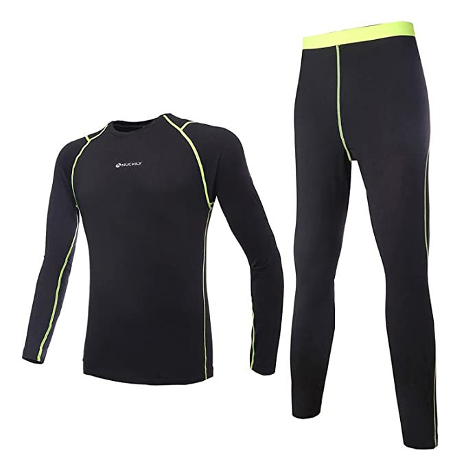 8fb28f1ef Amazon.com  NUCKILY Men s Cycling Fleece Thermal Long Jersey with Pants Set  Winter Base Layer Clothing  Sports   Outdoors