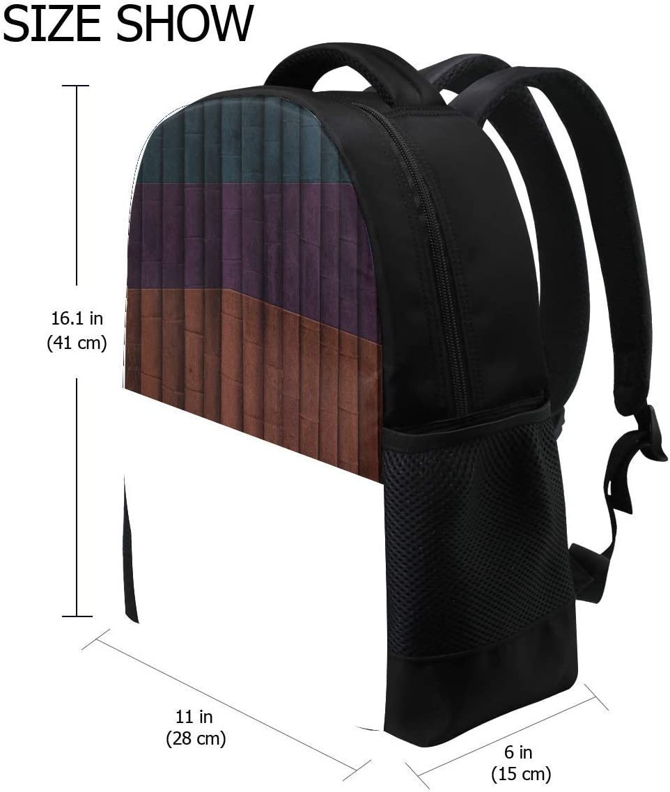 Texture Stripes Blue Purple Orange Black Bookbag School Backpack Luggage Travel Sport Bag