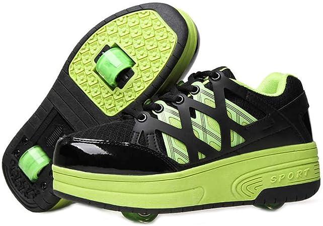 Zapatillas De Skate para Niños, Zapatillas De Skate De Deformación Zapatillas Running Ajustables 2 Ruedas, Deportivas Línea Ruedas Automáticas, Unisex,Verde,27cm: Amazon.es: Hogar