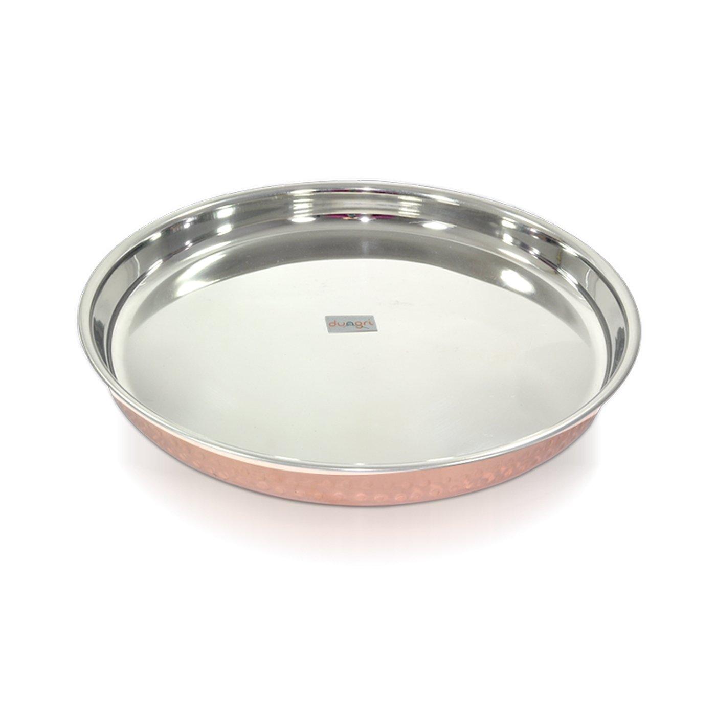 Dungri India Craft ® Indian Dinnerware Stainless Steel Copperware Thali - Diameter 12 Inch