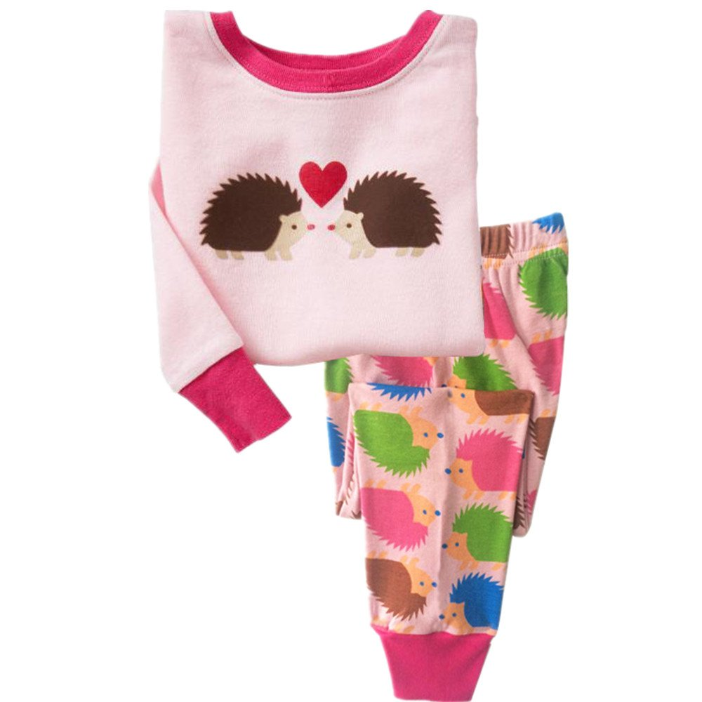Tkala Fashion Girls Pajamas Children Clothes Set Deer 100% Cotton Little Kids Pjs Sleepwear (6, pink3)