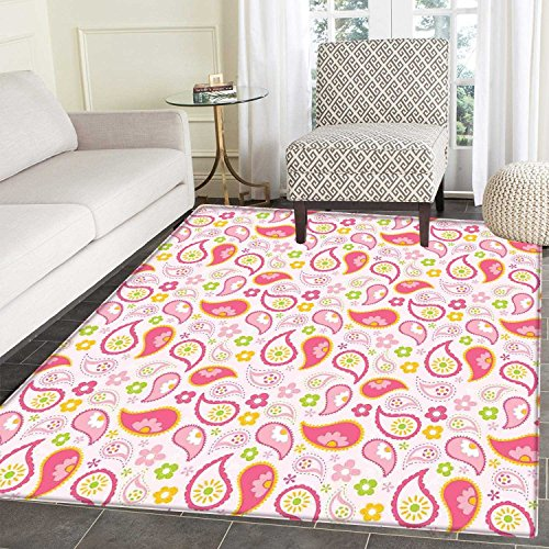Girls Anti-Skid Area Rug Paisley Leaf and Daisy Flowers Pattern Floral Spring Theme Girls Kids Room Nursery Soft Area Rugs 4'x6' Pink Green