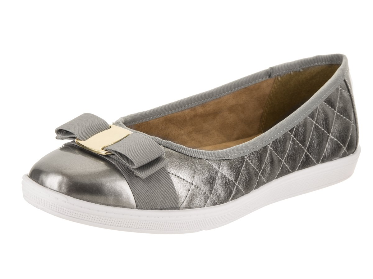 Soft Style Hush Puppies Women's Faeth Flat, Pewter, 8.5 M US by Soft Style