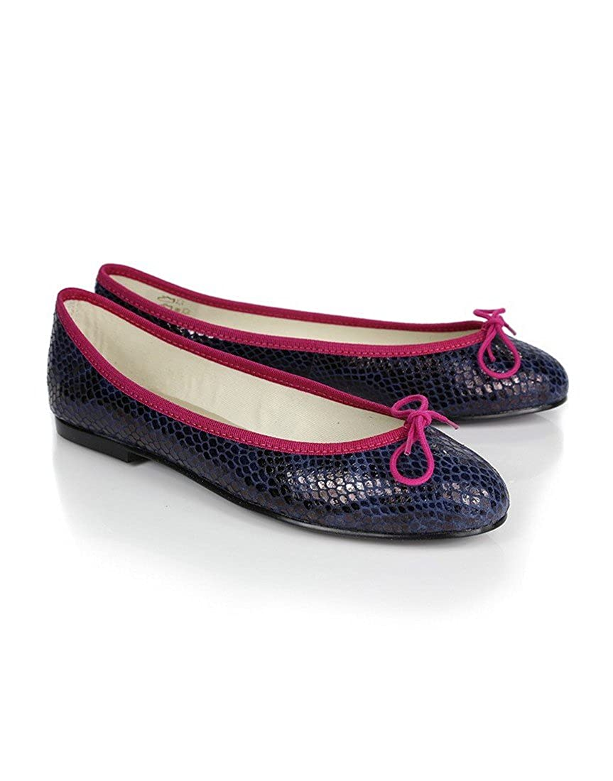 50e296f00863b Navy Womens French Sole Women's India Snake Print Ballet Pumps With  Contrast Trim - Navy - 7: Amazon.co.uk: Shoes & Bags