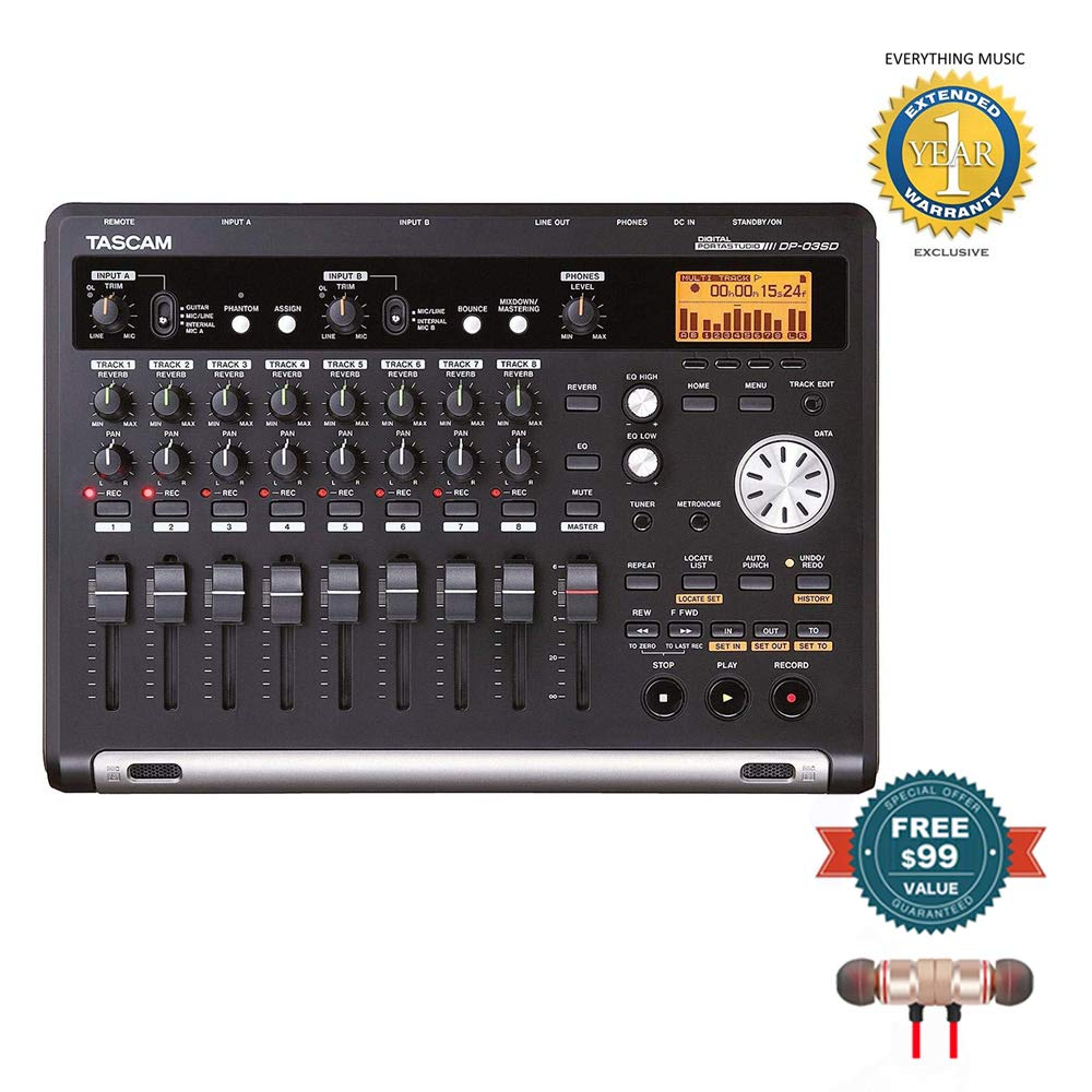 Tascam DP-03SD Digital Portastudio 8-Track Recorder includes Free Wireless Earbuds - Stereo Bluetooth In-ear and 1 Year Everything Music Extended Warranty