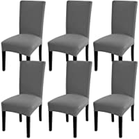 Fuloon 6/4 Pack Super Fit Stretch Removable Dining Chair Slipcover Washable Short Dining Chair Protector Cover Seat Slipcover For Hotel Dining Room Ceremony Banquet Wedding Party